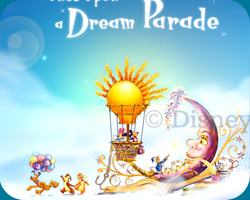 De concept art van de Once Upon a Dream Parade die door Disney is vrijgegeven. Op de eerste float staan Mickey & Minnie in hun luchtballon die hoog in de wolken rijkt, omringt door hun beste disneyvrienden.